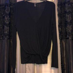 Vneck black blouse long sleeve